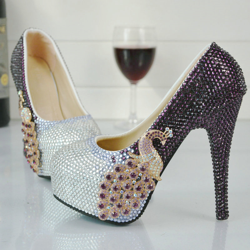 Purple and Silver Rhinestone High Heel Shoes Wedding Party Pumps Bridal Formal Dress Shoes Cinderella Prom Pumps Plus Size 45 beautiful fashion blue wedding shoes for woman rhinestone bridal dress shoes lady high heel luxurious party prom shoes