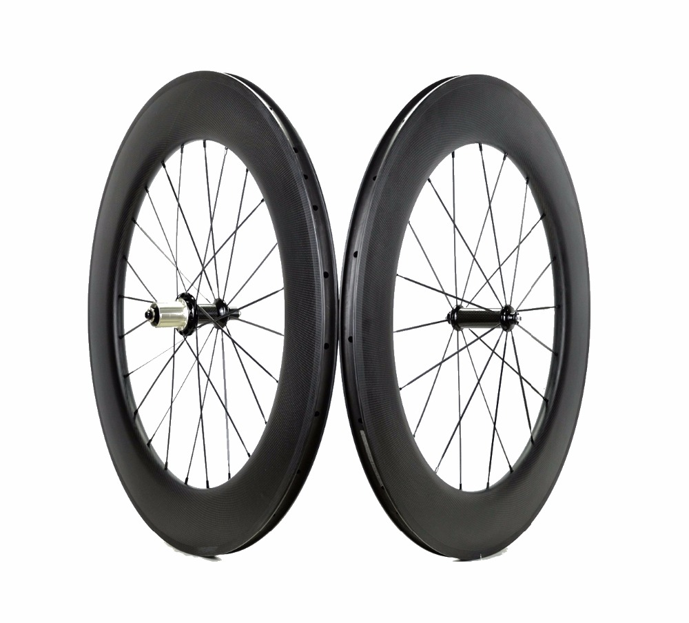 Free shipping 88mm depth road carbon wheels 700C 23mm width bike Clincher Tubular carbon fiber wheelset
