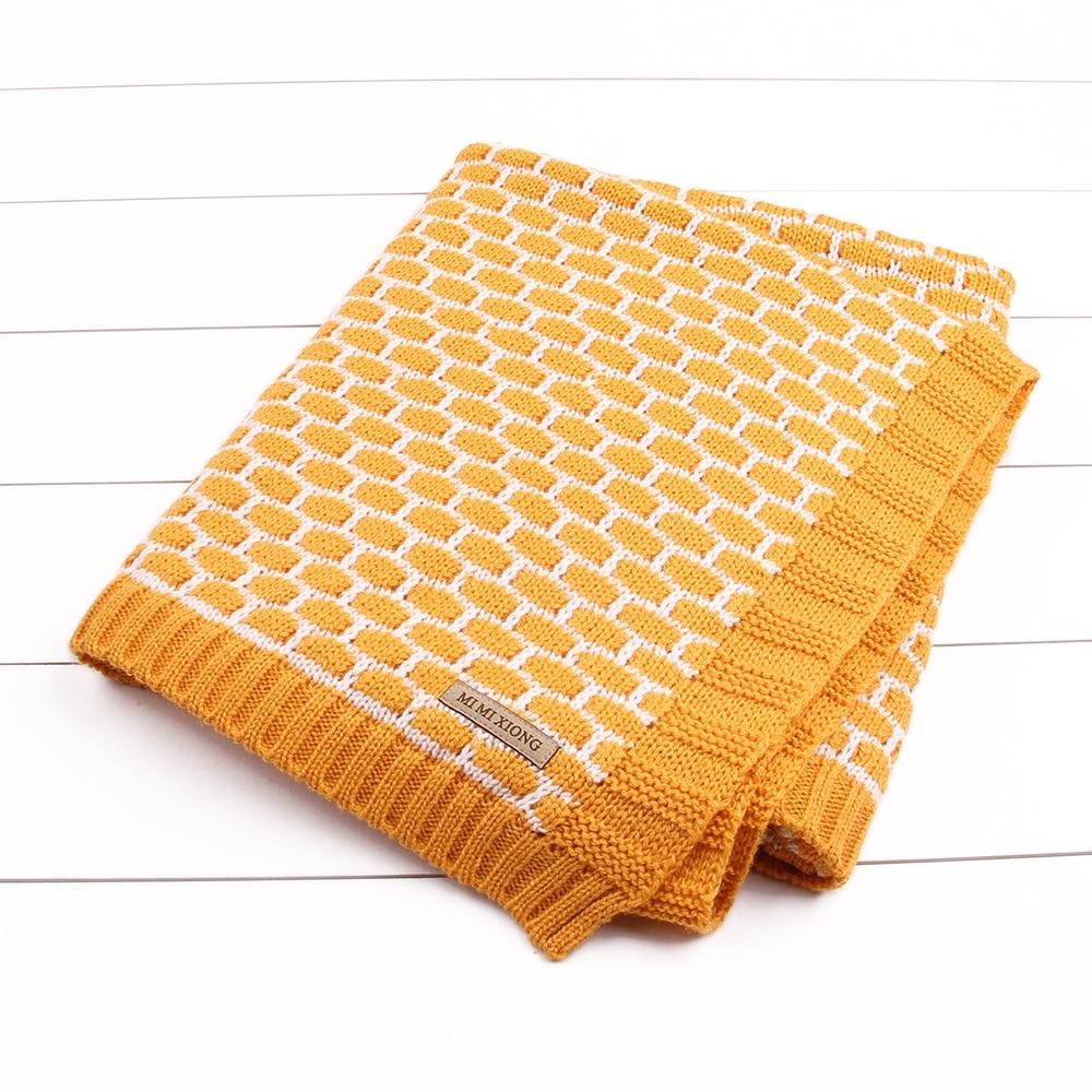 Newborn Baby Wrap Muslin Swaddle Blanket Plaid Knitted Toddler Infant Basket Bedding Cover Spring Fall Unisex Blanket Super Soft