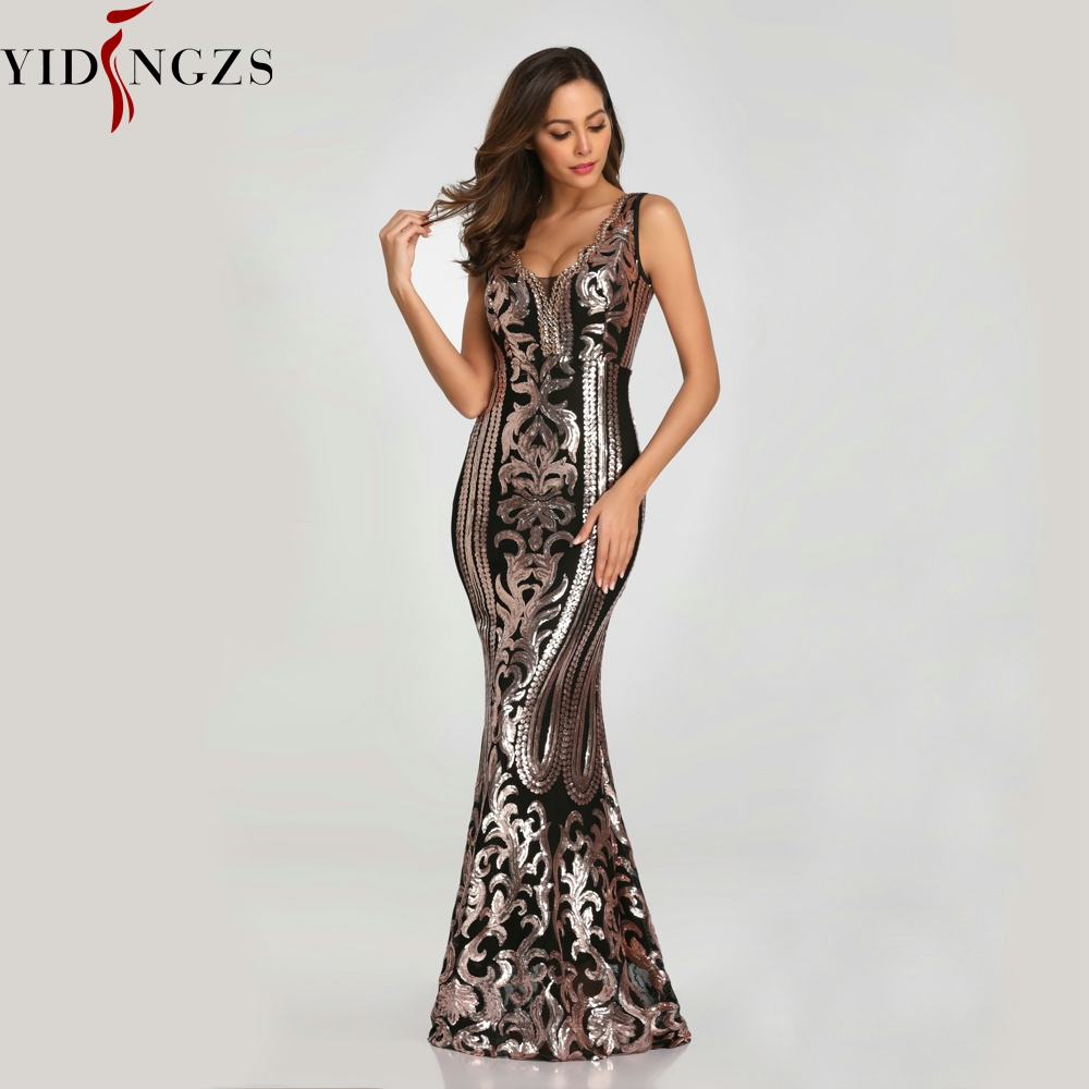 YIDINGZS New Beading V-neck Sequins Party Formal   Dress   Sleeveless Sexy Long   Evening     Dresses   Black Golden