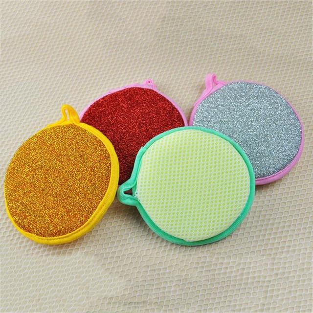 f66a46aaf0c Lo nuevo de Doble cara Redonda Esponja Para Lavar Platos de Cocina Limpieza  Esponja Creativa Hogar