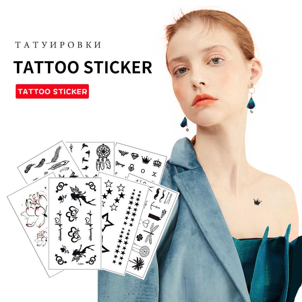 Hot Pequeno Preto Falso Temporária Etiqueta Do Tatuagem Dos Desenhos Animados Dos Miúdos Homens Tatouage Temporaire Femme Face À Prova D' Água Adesivos CW49