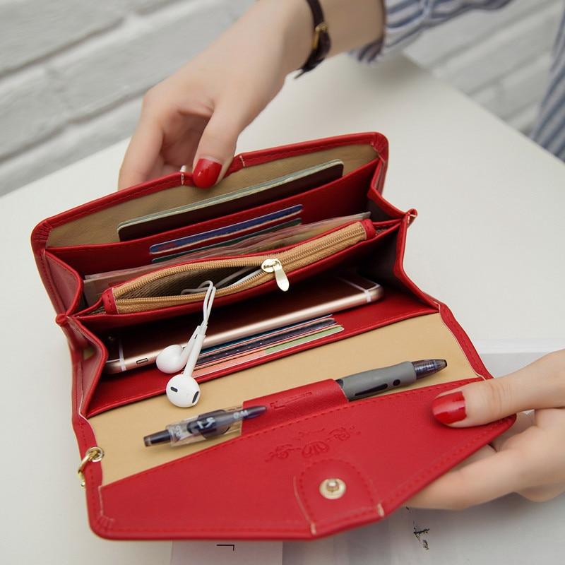 Korean Women Clutch Purse Hasp Design Handbag Letter Ladies Wallet For Female PU Leather Long Wallets Envelope Wallet casual weaving design card holder handbag hasp wallet for women