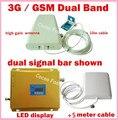 Display LCD 3G WCDMA 2100 MHz + GSM 900 Mhz Dual Band Móvel telefone amplificador de Sinal De Celular Repetidor de Reforço De Sinal 900 2100 conjunto Completo