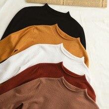 Новые зимние женские кашемировые вязаные свитера-пуловеры с круглым вырезом и длинным рукавом, Женский однотонный Тонкий Повседневный шерстяной свитер
