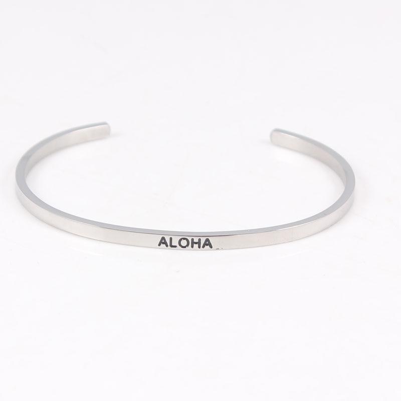 Fashion Stainless Steel Engraved ALOHA Bracelet Mantra Bangles For Women men friends family Best Gift