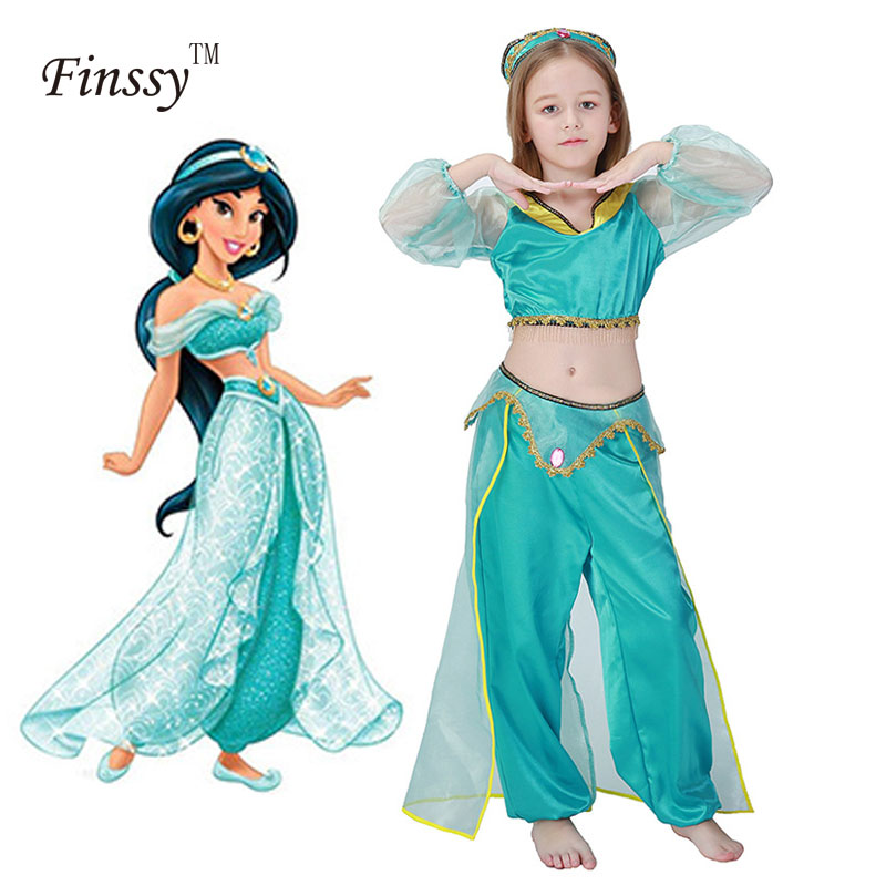 Girls Aladdin S Lamp Jasmine Princess Costumes Cosplay For Children Halloween Party Belly Dance Dress Indian