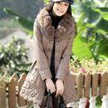XL-5XL 2013 mujeres de mediana edad de terciopelo grueso acolchado largo ovejas chaqueta de cuero con cuello de piel de zorro caliente cruzado H1834