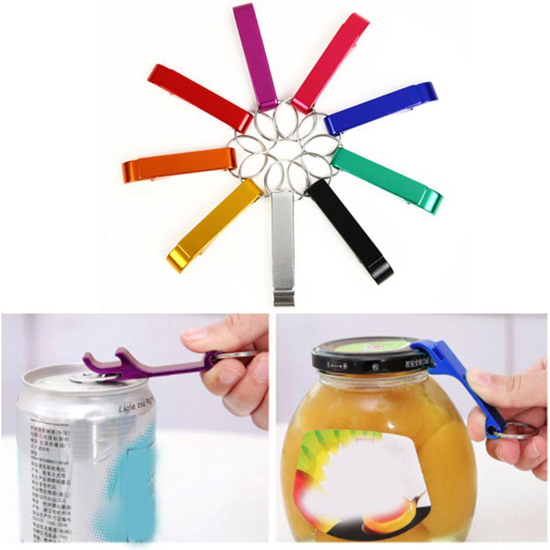 aluminum keychain beer bottle opener and portable jar opener 9 colors opening wine beer tools
