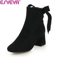 ESVEVA 2019 Woman Shoes Lace Up Flock Boots Ankle Boots Round Toe Square High Heels Sewing Comfortable Boots Shoes Size 34 43