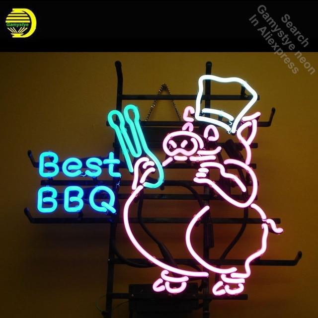 Neon Sign for Best BBQ PIG Neon Bulb sign handcraft Real Glass tubes vintage Decorate windows metal Maker Hotel Beer Bar pub