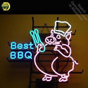 Неоновая вывеска для лучшего барбекю, свинья, неоновая лампочка, вывеска, ручная работа, настоящие стеклянные трубки, винтажная декоративна...