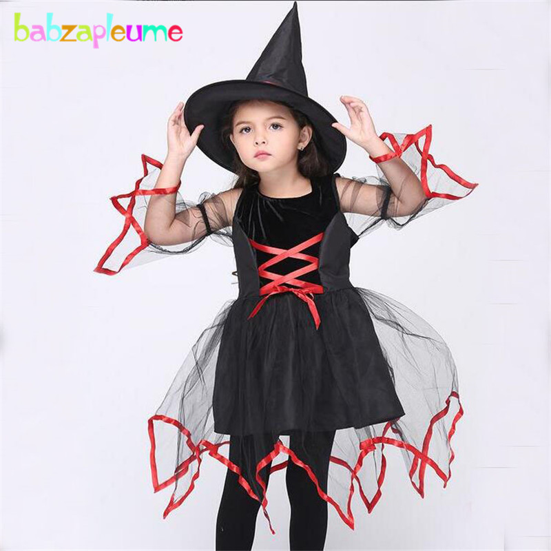 babzapleume Brand Halloween Girl Witch Cosplay Party Costume Dress boutique Mesh Kids Girls Outfits Bandage Toddler Clothes Y027