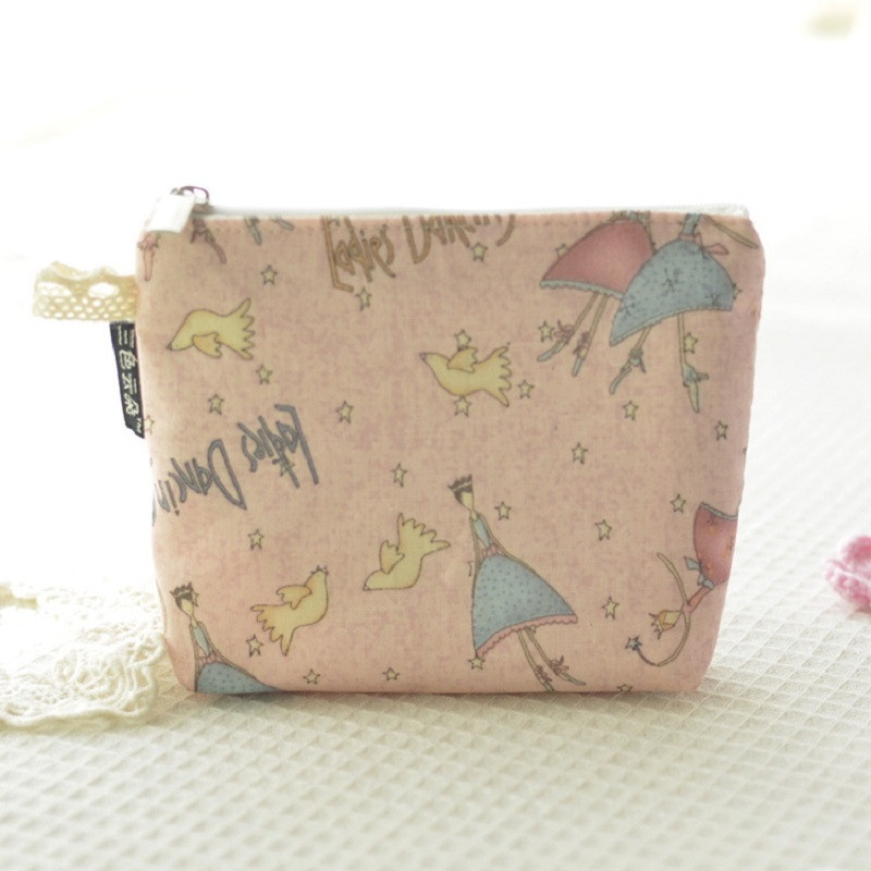 4pcs/lot cartoon printing cotton women's coin bags small change purses wallets mini handbags paper organizer pouches for girls