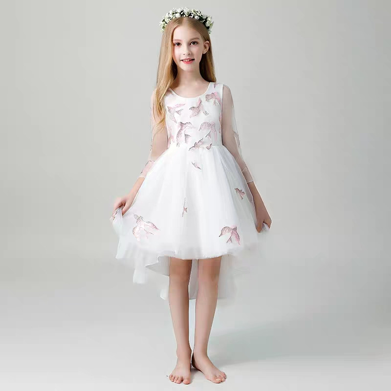 2018 Autumn New Baby Kids Round Collar Birthday Wedding Party Back Long Front Short Prom Tail Dress Toddler Infant Piano Dress contrast collar foldover front dress