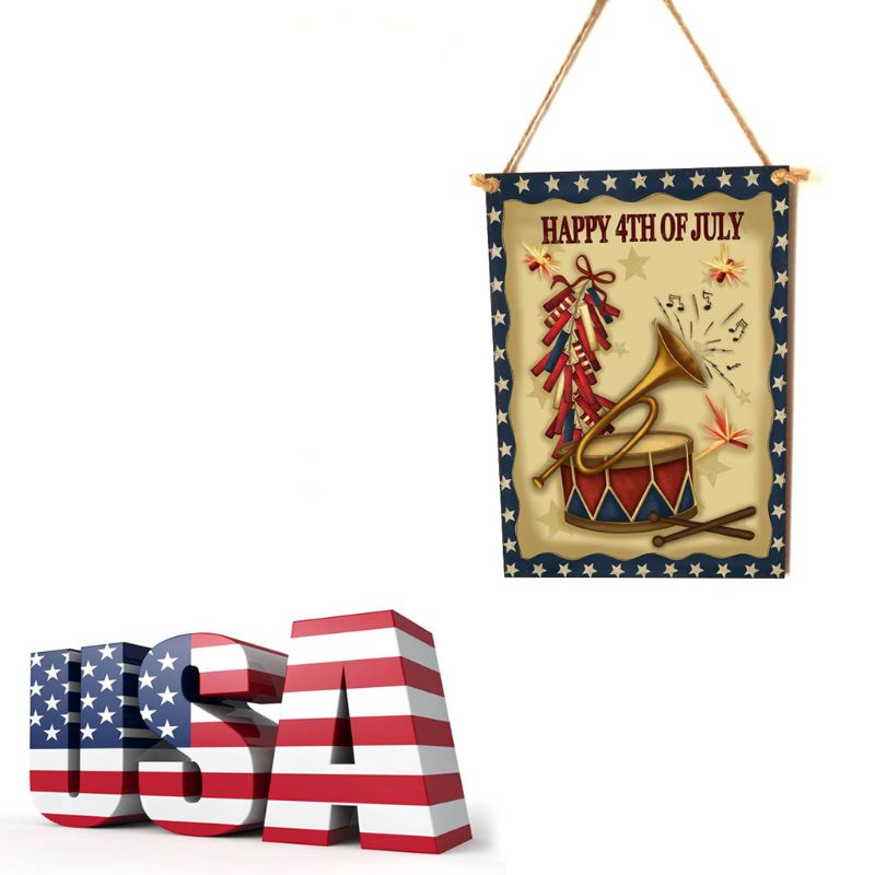 Image 2 - Rustic Wooden Happy Happy 4th Of July Sign Plaque Independence Day Room Home Decor Collection Gift-in Plaques & Signs from Home & Garden