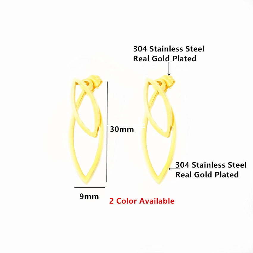Trendy Stainless Steel Ganda Berongga Leaf Stud Earrings Wanita - Perhiasan fashion - Foto 3