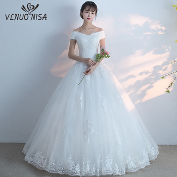 New Arrival 2018 Free Shipping Vintage Elegant Lace White Wedding Dresses Boat Neck Plus Size Ball Gown Robe de Novia Customed