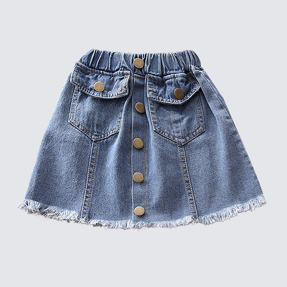 Babyinstar Fringed Burr Side A-Line 2018 Summer Short Denim Girls Skirt Trendy High Waist Jeans Skirt Irregular Dem Kids Skirts trendy elastic waist argyle hit color women s midi skirt