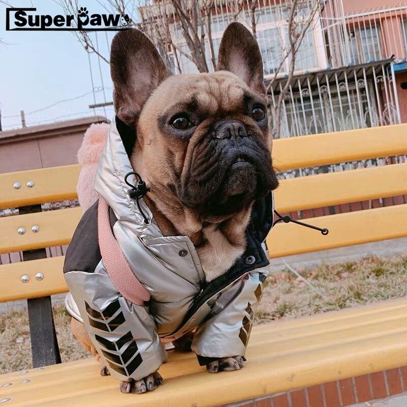 Mode chien hiver veste extérieure pour animaux de compagnie chiens broderie manteau marée marque Schnauzer bouledogue français Teddy à capuche carlin vêtements GMC03