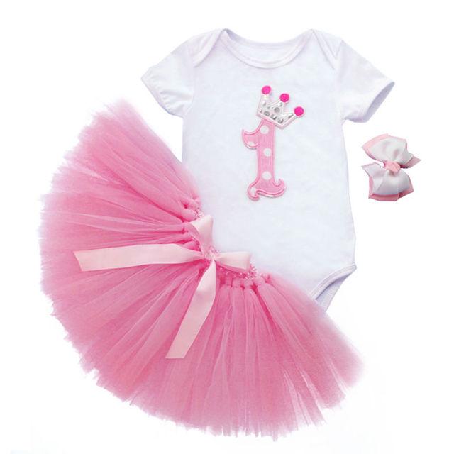 Hedendaags 3 Stks Set Meisje Crown Tutu Jurk Zuigeling 1e Verjaardag Outfit QI-37