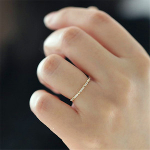 Minimalist Female Small Stone Love Ring Boho Rose Gold Filled Heart Ring Fashion Cute Engagement Promise Rings For Women