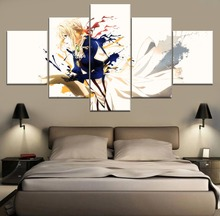 Modern Painting Canvas Wall Art 5 Piece Violet Evergarden Anime HD Print For Living Room Artwork
