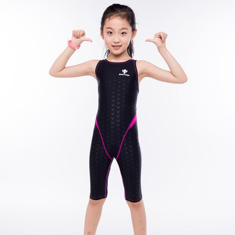 Shark Skin One piece Swimsuit Plus Size Swimwear Child 2017 Swim Competition Girl Bathing Suit Bodysuit Surfing Suits Wetsuit plus size scalloped backless one piece swimsuit