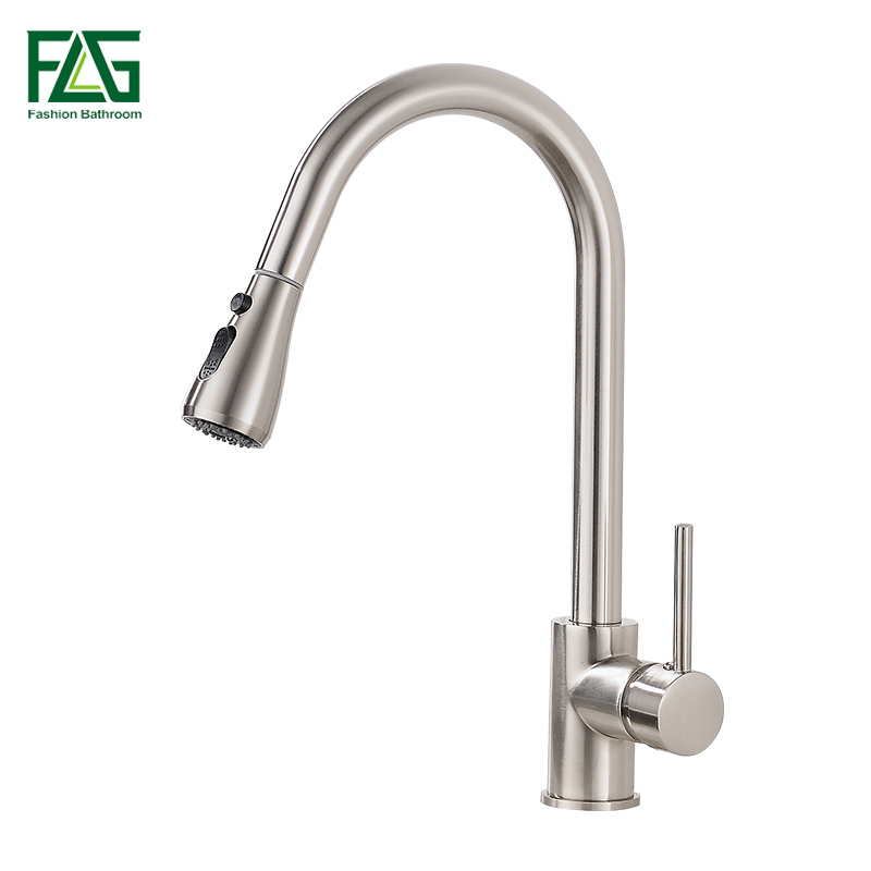 Купить с кэшбэком Kitchen Faucets Brushed Nickel Single Handle Pull Out Kitchen Tap Single Hole Handle Swivel 360 Degree Water Mixer Tap