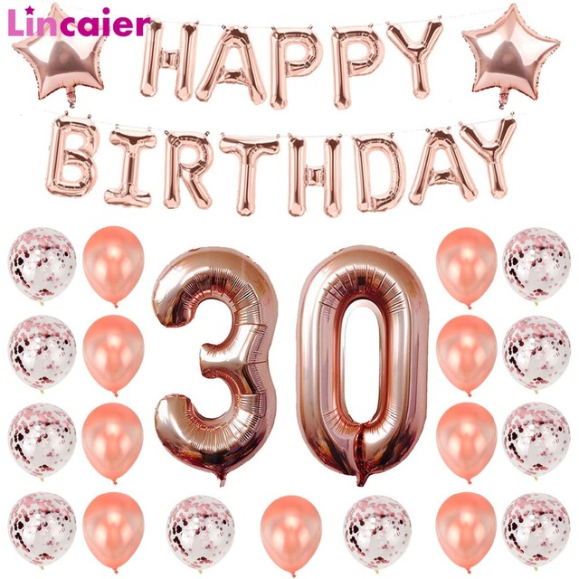 Lincaier 32 Inch 62cm 30th Birthday Balloons Happy 30 Years Party Decorations Men Women Supplies Thirty