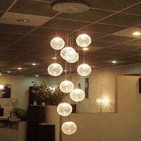 Современные большие длинные лестницы круглый шар люстры 10 огни гостиная стеклянный шар подвесные светильники Светильник