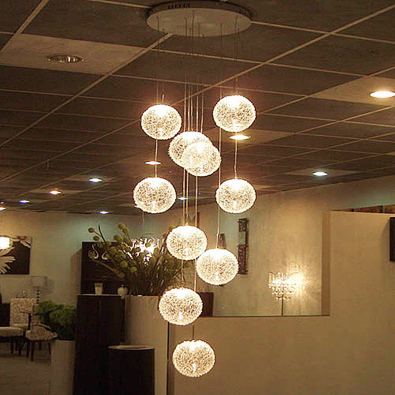 Modern Large Led Chandeliers Stair Long Globe Glass Ball Ceiling Lamp With 10 Light Fitting