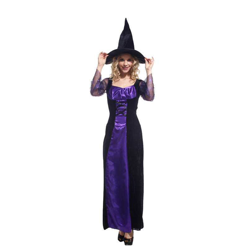 Fantasia Woman Halloween sorceress Costumes Witch magician Cosplay wizard Role play Carnival Purim  Masquerade Rave party dress