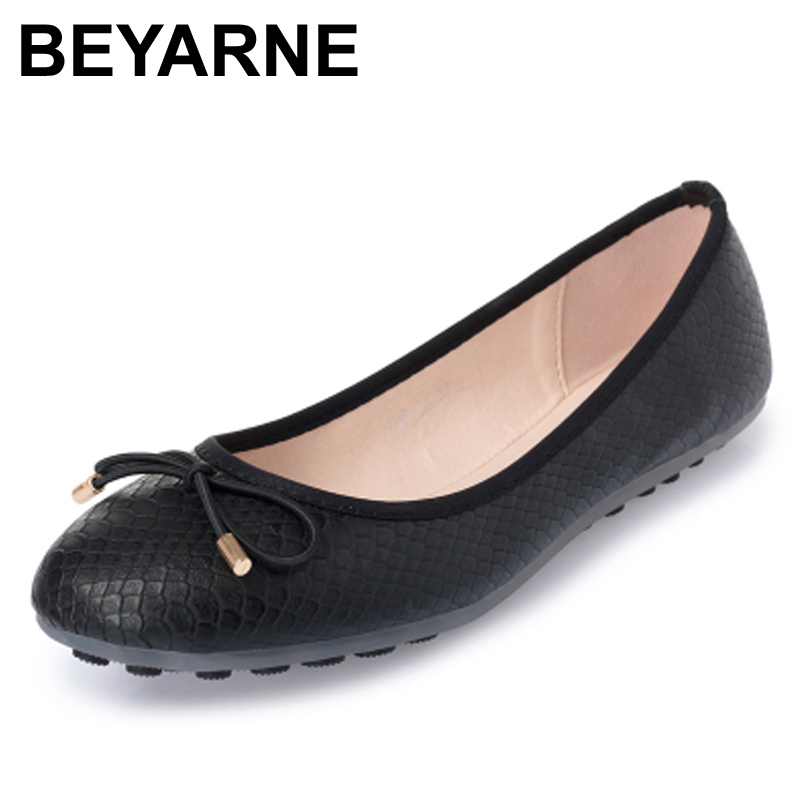 BEYARNE free shipping arrival women single shoes pointed toe comfortable flat women moccasins fashion designer flats Moccasin beyarne hot sale new fashion spring women flats shoes ladies bow pointed toe slip on flat women s shoes free shipping size34 40