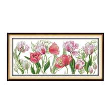 11CT 14CT Printing Embroidered Cloth Sewing Manual diy Cross Stitch Kit Spring Tulip Wholesale Decorative Painting(China)