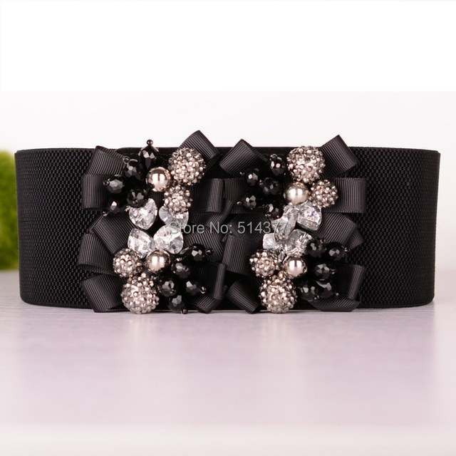 New Rhinestone Belt wild black bow stretch skirt with wide waistband  decorative . designer wide elastic fd4beeaf5700