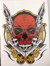 ARRIVAL 21 X 15 CM Red Skull Temporary Tattoo Stickers Temporary Body Art Waterproof#151