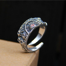 925 Sterling Silver Creative Crater Ring Retro Style Anniversary Gift For Men Women 9G 10mm