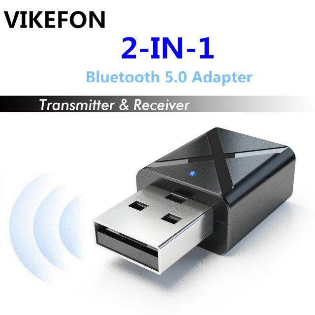 VIKEFON Bluetooth 5.0 Audio odbiornik nadajnik Mini Stereo Bluetooth AUX RCA USB 3.5mm Jack do telewizora PC zestaw samochodowy bezprzewodowy Adapter