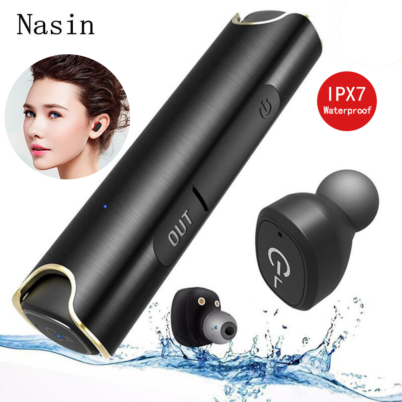 Nasin <font><b>S2</b></font> <font><b>TWS</b></font> Bluetooth 5.0 headset Stereo IPX7 Waterproof Mini Earphone True <font><b>Wireless</b></font> <font><b>Earbud</b></font> with 850mAh Charging Box for Xiaomi image