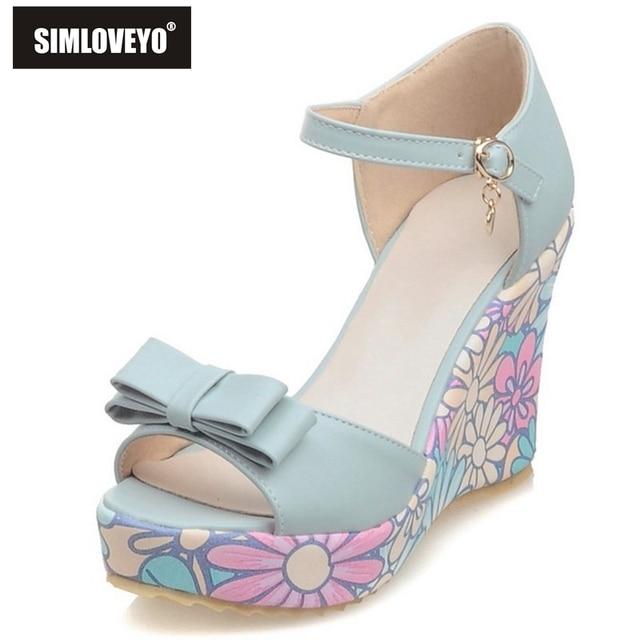 491d95b5674 SIMLOVEYO Shoes women High heels Ladies sandals Wedges Platform Buckle  Flower Cover heel Cute Summer Sandalia
