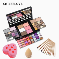 CHILEELOVE 2018 New 74 Colors Multifunction Makeup Eyeshadow Plate + Eye Brushes Kit + Wash Egg Combination Set For Eye Shadow