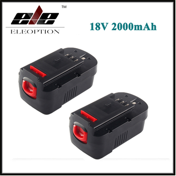 2x Eleoption 18V 2000mAh NI-CD  Replacement Battery For Black & Decker HPB18 244760-00 A1718 A18 HPB18-OPE