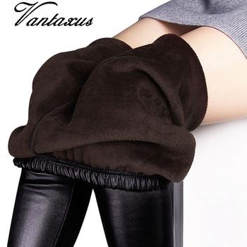 Zimowe legginsy damskie jesienne ciepłe legginsy sztuczna skóra aksamitne spodnie Stretch Skinny sexy pogrubienie czarne legginsy spodnie tanie i dobre opinie CN (pochodzenie) REGULAR SEAM Spandex(10 -20 ) Kostek STANDARD Dzianiny cpant0 WOMEN Z wełny Poliester Drukuj