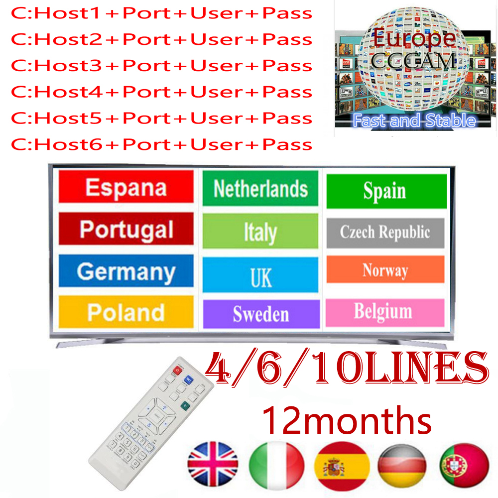 Fast And Stable CCcams Europe 4/6/10line Card  For Samsat Starsat Satellite TV Receiver Via Usb Wifi Remote Cont