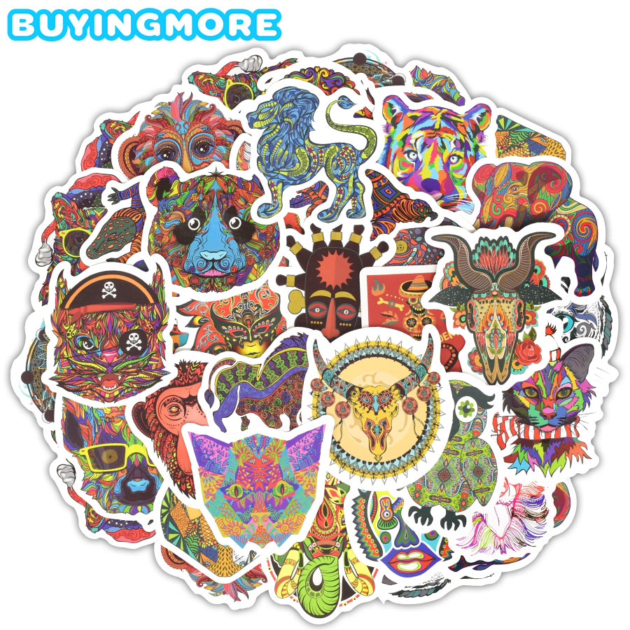 50 PCS Totem Stickers Funny Toys Graffiti Animals Ethnic Tribal Mask Tattoo Decals Sticker DIY Laptop Skateboard Car Travel Case