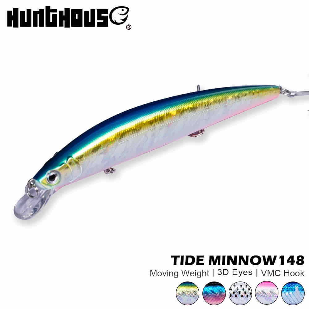 Hunthouse tide slim minnow floating 148mm 22.8g isca sea bass fishing lure wobblers hard bait leurre brochet ocean beach fish