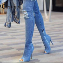 Spring new high-heeled cowboy hole over the knee fish mouth womens shoes elastic side zipper slim thin shoe