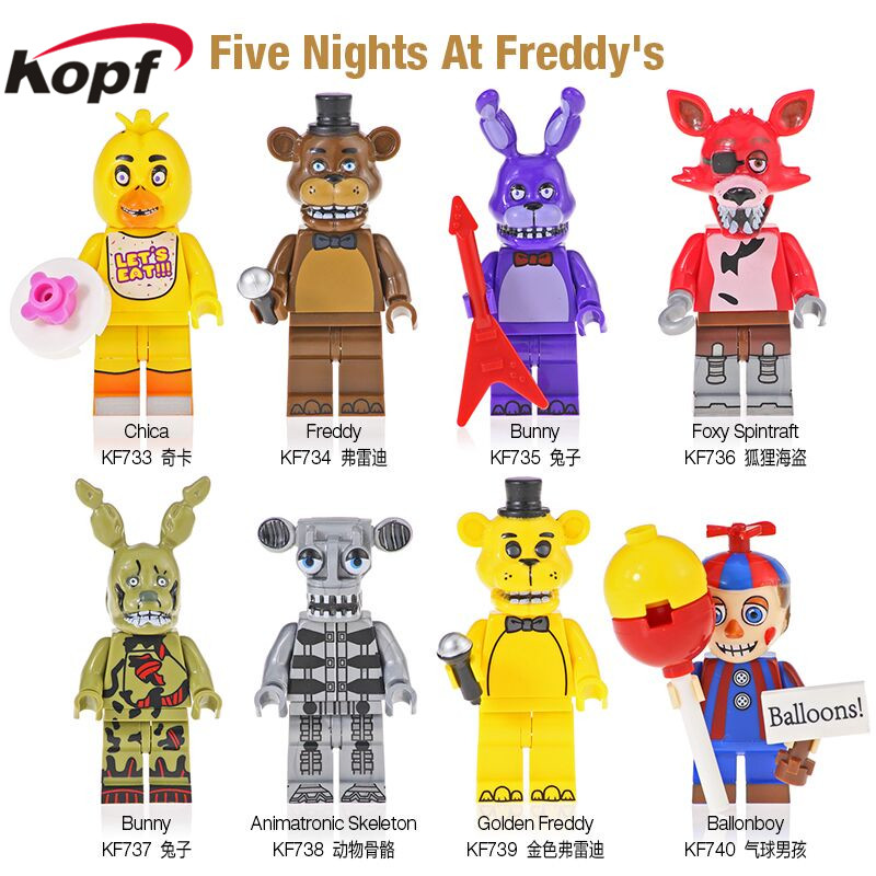 KF6071 Action Figure Five Nights At Freddy's Toys Golden Freddy Foxy Spintraft Chica Bunny Ballonboy Animatronic Skeleton Block