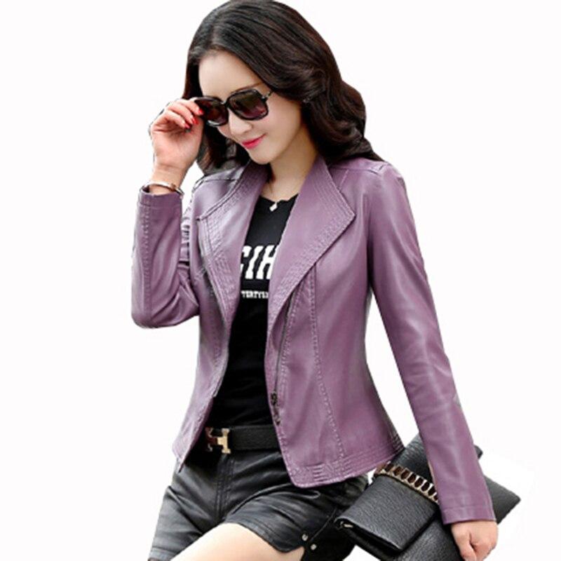 Spring Autumn   leather   Garment women's design sheepskin short motorcycle   leather   jacket outerwear Moto jaqueta de couro QH1058